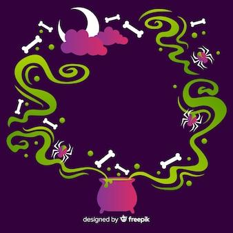 Diseño plano de marco púrpura de halloween