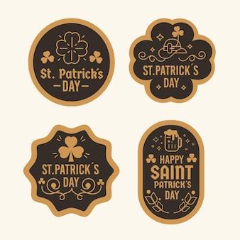 Diseño plano marrón y negro lucky st. insignias del día de patrick