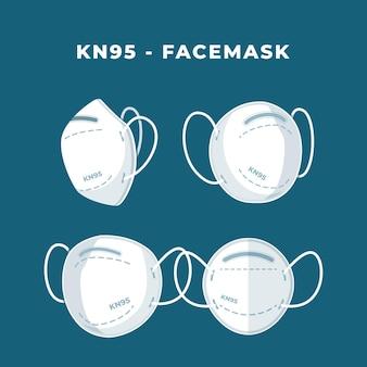 Diseño plano de la mascarilla kn95 en diferentes perspectivas