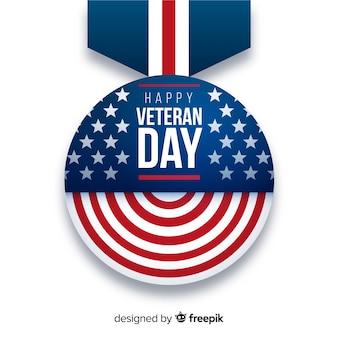 Diseño plano de medalla para el día de los veteranos