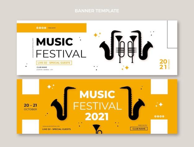 Diseño plano minimalista de banners de festivales de música horizontales.