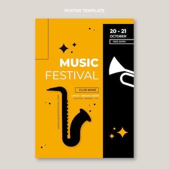Diseño plano minimalista del cartel del festival de música.
