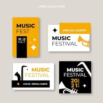 Diseño plano minimalista de etiquetas e insignias del festival.