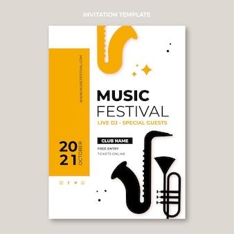 Diseño plano minimalista de invitación al festival de música.