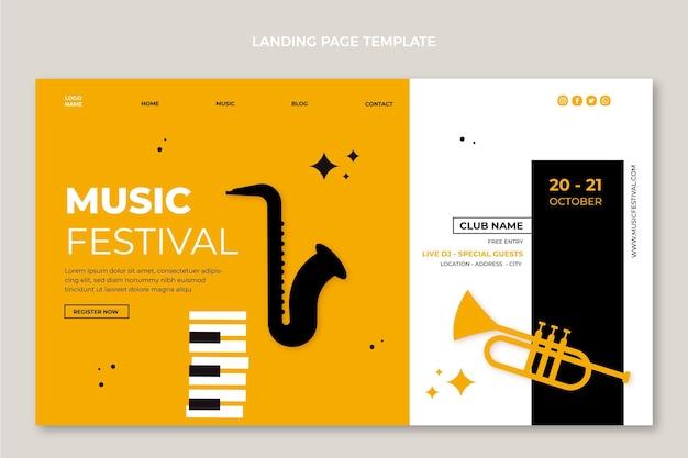 Diseño plano minimalista de la página de inicio del festival de música.
