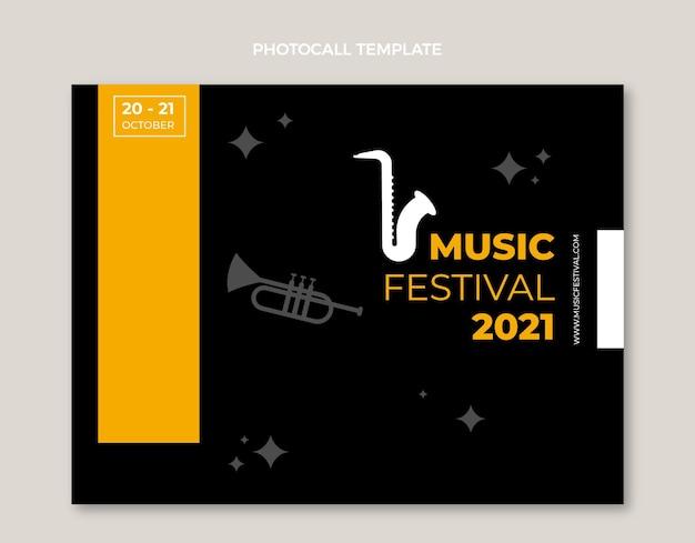 Diseño plano minimalista del photocall del festival de música.