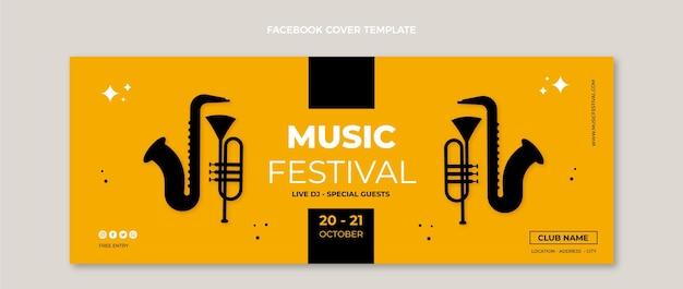 Diseño plano minimalista de la portada de facebook del festival de música.