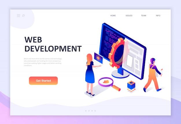 Diseño plano moderno concepto isométrico de desarrollo web.