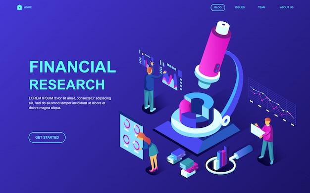 Diseño plano moderno concepto isométrico de investigación financiera.