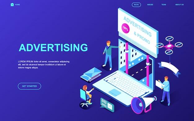 Diseño plano moderno concepto isométrico de la publicidad.