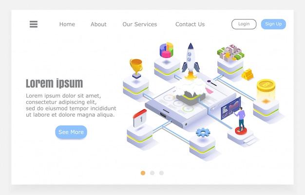 Diseño plano moderno, creación de empresas, cohete con elementos infográficos, ilustración isométrica sobre fondo blanco, proyecto de sitio web.