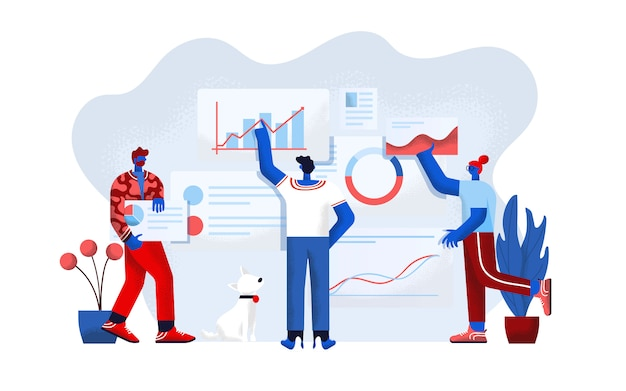 Diseño plano moderno ilustración de análisis de datos