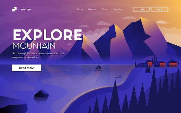Diseño plano moderno ilustración de explore mountain