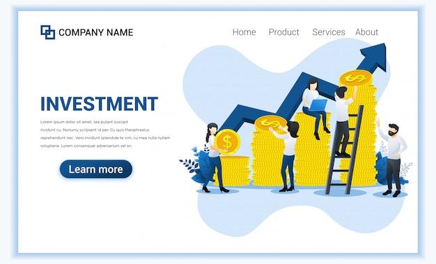 Diseño plano moderno de inversión con personajes que recogen monedas de dinero.
