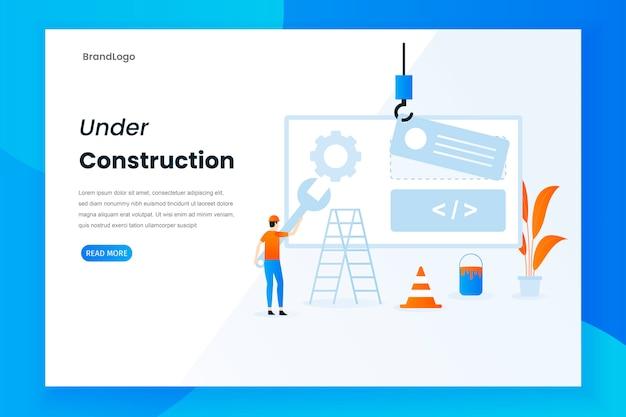 Diseño plano moderno en la página de inicio de construcción