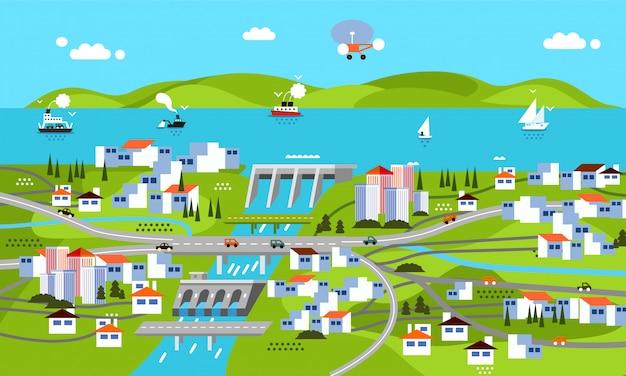 Diseño plano moderno de paisaje con presa, montaña, mar, río, edificio, casas, barcos y otros