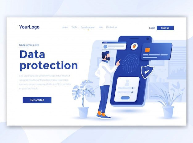 Diseño plano moderno de plantilla wesite - protección de datos