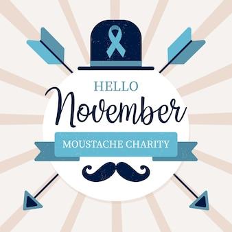 Diseño plano movember bigote fondo de caridad