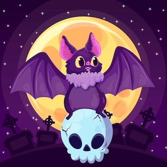 Diseño plano murciélago de halloween en cráneo