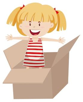 Diseño plano de niña en caja.