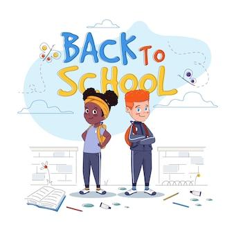 Diseño plano niños de vuelta a la escuela ilustración