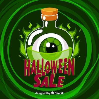 Diseño plano de ojo de venta de halloween en botella de poción
