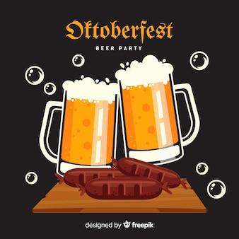 Diseño plano oktoberfest jarras de cerveza