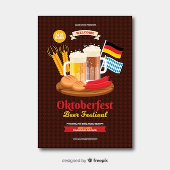 Diseño plano oktoberfest poster templa