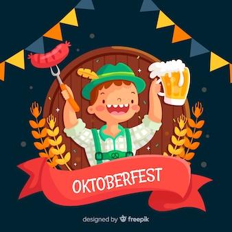 Diseño plano oktoberfest tirol con cerveza