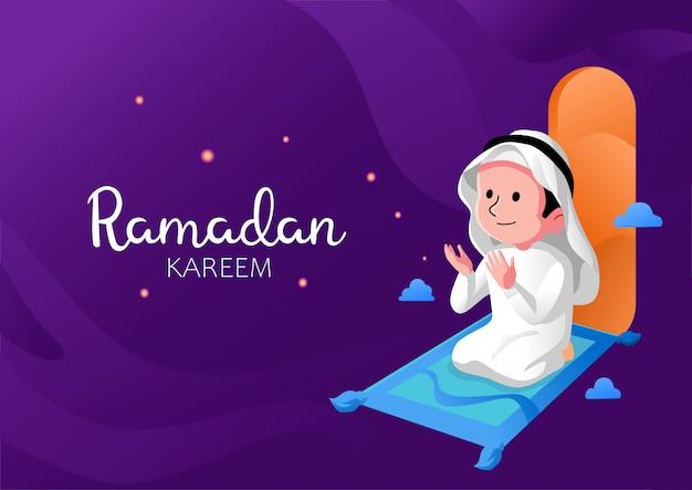 Diseño plano de oración de niño de ramadán kareem