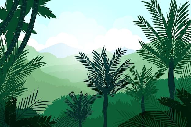 Diseño plano orgánico de fondo de selva con árboles altos.