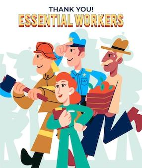 Diseño plano orgánico gracias a los trabajadores esenciales.