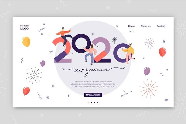 Diseño plano de página de aterrizaje de año nuevo