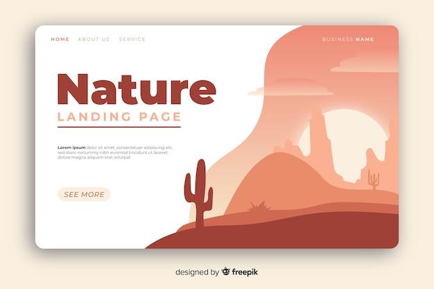 Diseño plano de la página de aterrizaje de la naturaleza