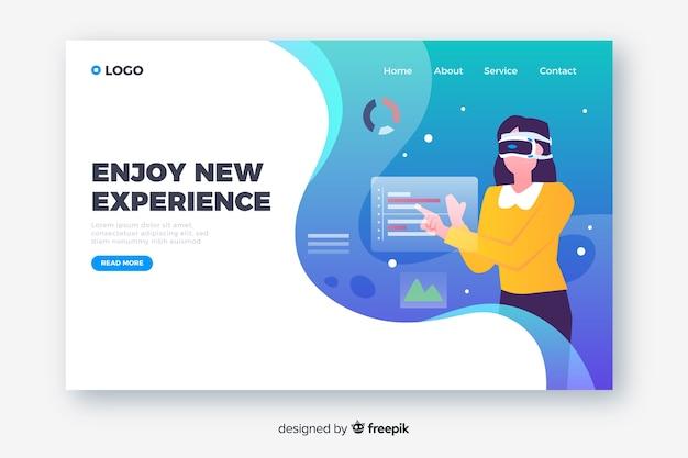 Diseño plano de la página de aterrizaje de realidad virtual