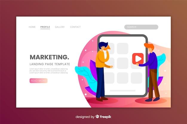 Diseño plano de página de destino de marketing