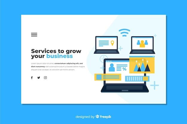 Diseño plano de la página de destino de negocios