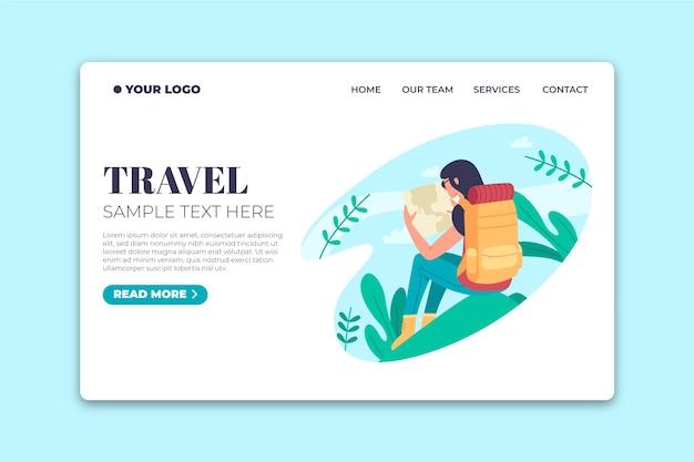 Diseño plano de la página de destino de la plantilla de viaje