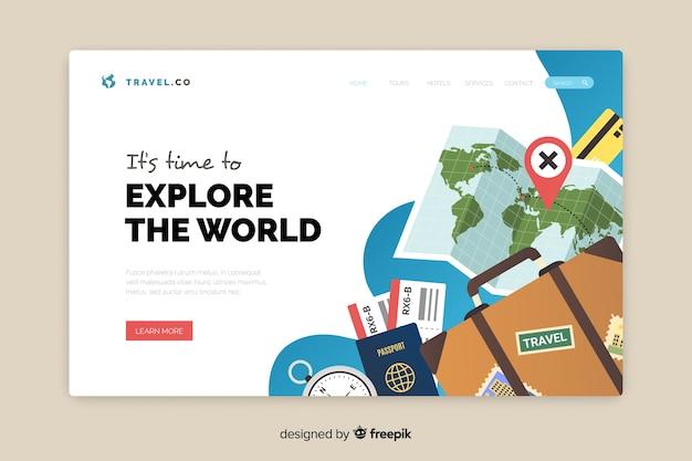 Diseño plano de la página de destino del viaje