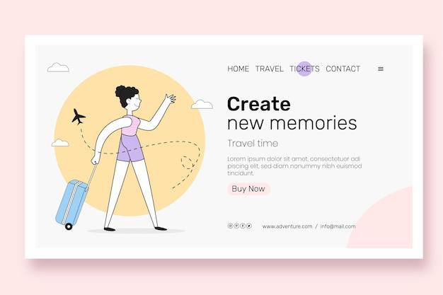 Diseño plano de la página de destino de viajes.