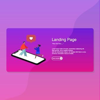 Diseño plano de la página de destino