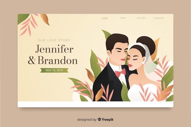 Diseño plano de la página de inicio de la boda