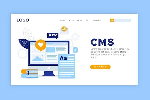 Diseño plano de la página de inicio de cms
