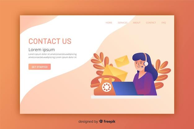 Diseño plano de una página de inicio de contacto