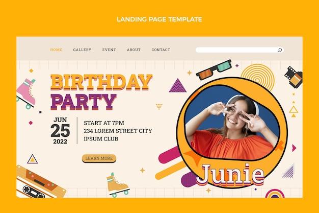 Diseño plano de la página de inicio de cumpleaños nostálgico de los 90