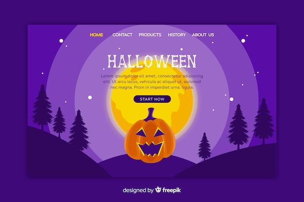 Diseño plano de la página de inicio de halloween
