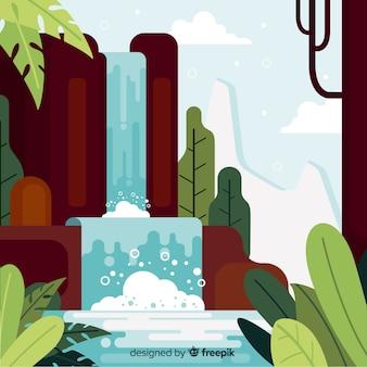 Diseño plano del paisaje decorativo de naturaleza