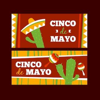 Diseño plano de pancartas de cinco de mayo