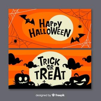 Diseño plano de pancartas de halloween