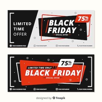 Diseño plano de pancartas de viernes negro